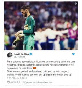 David de Gea memposting tweet setelah Spanyol kalah